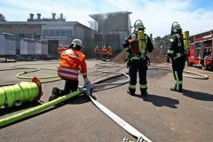 Feuerwehren löschen Brand im Torfwerk in Westerbeck